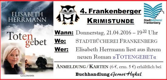 Frankenberger Krimistunde mit Elisabeth Herrmann